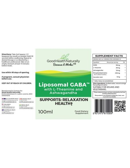 Liposomal GABA with L-Theanine and Ashwagandha - 100ml Home
