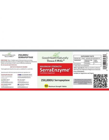 SerraEnzyme 250,000iu Tablets 90 Home